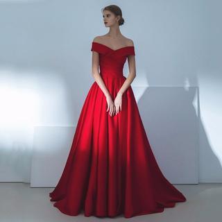 9894511f4b88e カラードレス 赤 オフショルダー ミニトレーン 高品質 結婚式 披露宴 ロングド(ウェディング