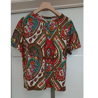 ザラ(ZARA)のZARA ザラ クルーネック ペイズリー 花柄 Tシャツ 半袖(Tシャツ(半袖/袖なし))