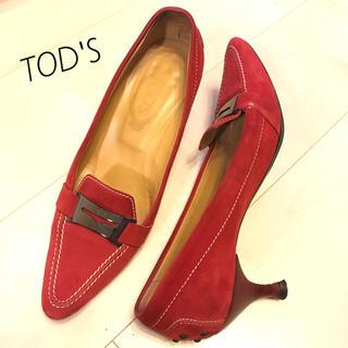 トッズ(TOD'S)の定価約8万円 TOD'S パンプス 38 赤 スエード(ハイヒール/パンプス)