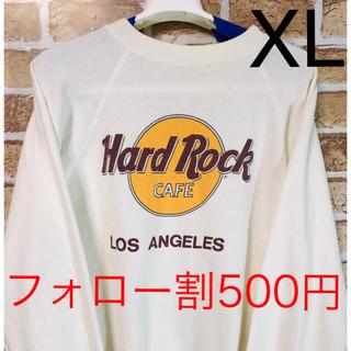 【希少品】ハードロックカフェ ロサンゼルス LA トレーナー スウェットL 白色(スウェット)