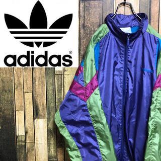アディダス(adidas)の【激レア】アディダスオリジナルス☆刺繍ロゴマルチデザインナイロンジャケット90s(ナイロンジャケット)