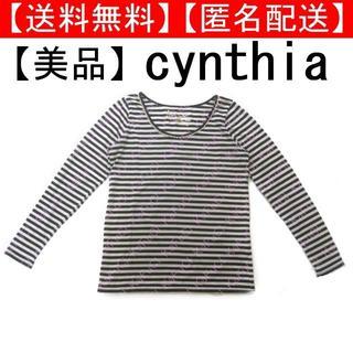 シンシア(cynthia)のシンシア ボーダー トップス 長袖 Tシャツ ロンT レース 春服 カットソー(Tシャツ(長袖/七分))