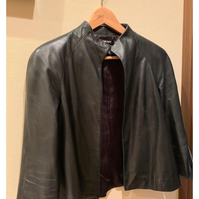 DKNY WOMEN(ダナキャランニューヨークウィメン)の[DKNY] レザージャケット・レディース [定価7万]  値下げ交渉あり! レディースのジャケット/アウター(テーラードジャケット)の商品写真