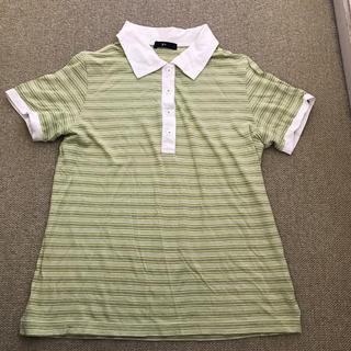 ジーユー(GU)のgu ポロシャツ L レディース ボーダー(ポロシャツ)