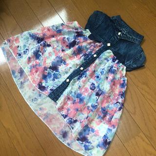 シマムラ(しまむら)のキッズ ♡ 水彩花柄シフォン切り替え デニムシャツ 100(Tシャツ/カットソー)