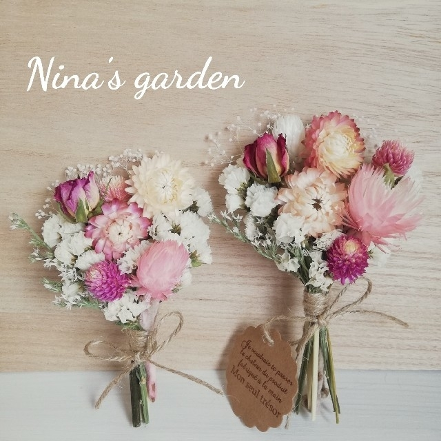 ドライフラワー*°♡White Gardenミニスワッグ2点セット ハンドメイドのフラワー/ガーデン(ドライフラワー)の商品写真