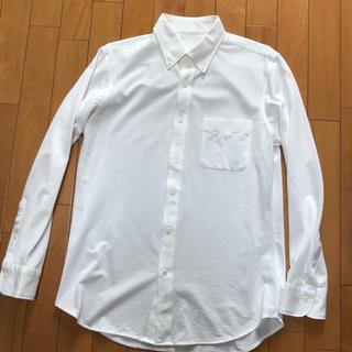 ユニクロ(UNIQLO)のUNIQLO 長袖 コンフォートジャージーシャツ スリムフィット 長袖シャツ 白(シャツ)
