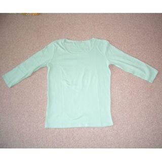 ジーユー(GU)の7分袖 Tシャツ ミントグリーン 美品(Tシャツ(長袖/七分))