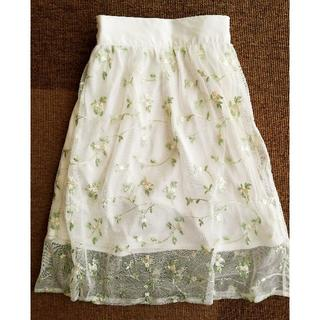 ジーユー(GU)のGU ジーユー チュール 花柄刺繍スカート130㎝(スカート)