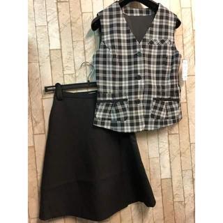 f8d6ccf8e625e 新品☆5号♪黒×チェック のキュロットスカートのベストスーツセット☆