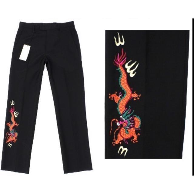 Gucci(グッチ)の18万新品◆46◆GUCCI グッチ ブラックドラゴン刺繍パンツ ミケーレ メンズのパンツ(スラックス)の商品写真