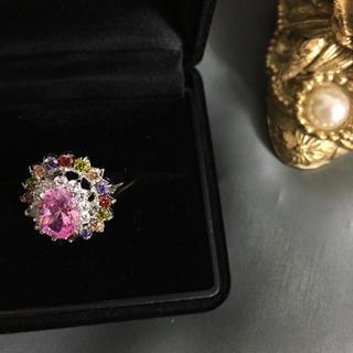 ピンクサファイアシルバーデザインリング(リング(指輪))
