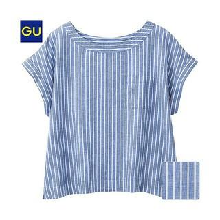 ジーユー(GU)のGU リネン ブレンド Tシャツ ブラウス ストライプ S ブルー ホワイト(シャツ/ブラウス(半袖/袖なし))