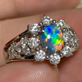 ブラックオパール 0.94ct リング ダイヤ(リング(指輪))