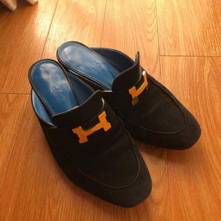 エルメス(Hermes)のエルメス 34 スエード ブラック(ローファー/革靴)