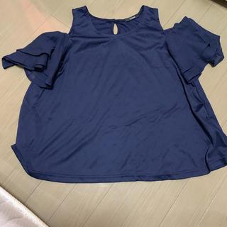 シマムラ(しまむら)の肩出し  フリル  紺(カットソー(半袖/袖なし))