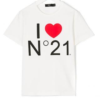 N°21 KIDS ロゴプリント半袖Tシャツ オフホワイト
