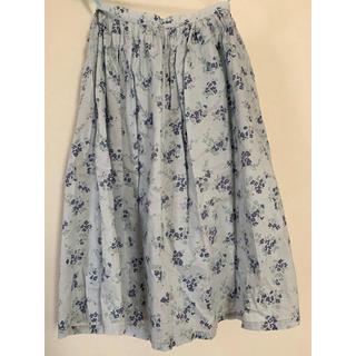 ドゥファミリー スカート コットン 小花柄 Mサイズ ギャザースカート ブルー