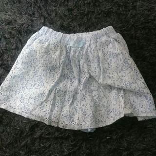 ジーユー(GU)のGU レースキュロット 水色 Tシャツおまけつき 130 (スカート)