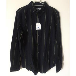 シマムラ(しまむら)のしまむら メンズ ストライプ 長袖シャツ ネイビー×グリーン×イエロー Mサイズ(シャツ)