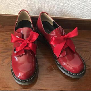 シュガーシュガー(Sugar Sugar)のリボン オックスフォード エナメル レッド(ローファー/革靴)