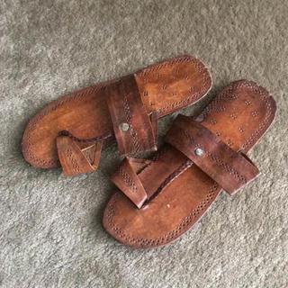 レザー サンダル モロッコ 新品 24cm フラット トング(サンダル)
