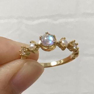 リング 指輪 CZ ダイヤ シンセティック ムーンストーン ゴールド 18号(リング(指輪))
