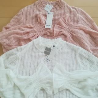 ジーユー(GU)の【新品タグ付】GU  フリルネックT  2枚セット(Tシャツ(長袖/七分))