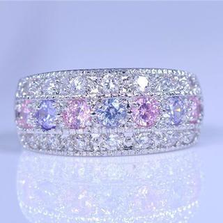ピンク×紫 AAAランク cz♪キラキラ輝く パヴェリング(リング(指輪))