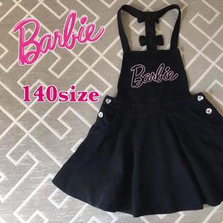バービー(Barbie)のBarbie/胸ロゴ♡ラメ入りブラックワンピ 140size(ワンピース)