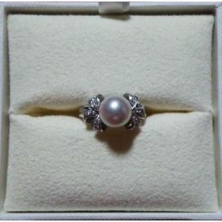 タサキ(TASAKI)の可愛い!!真珠とダイヤのリボンリング(リング(指輪))