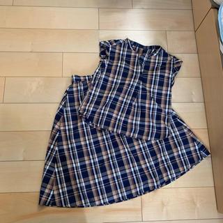 ジーユー(GU)のGU マドラスチェックブラウス、スカートセット(シャツ/ブラウス(半袖/袖なし))