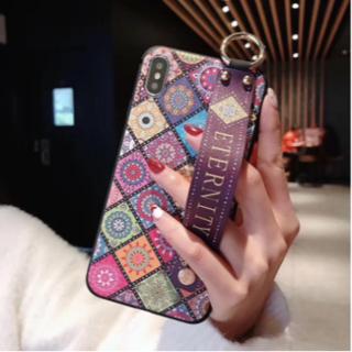 ae0808073d iPhoneケース おしゃれなリストバンド付き♪iPhoneXR ビンテージフラ(iPhoneケース)
