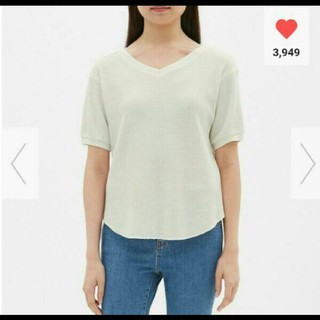 ジーユー(GU)のワッフルVネックT(Tシャツ(長袖/七分))