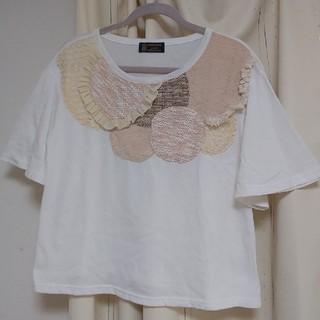 リベットアンドサージ(rivet & surge)のrivet & surge Tシャツ 刺繍 花 ホワイト 白(Tシャツ(半袖/袖なし))