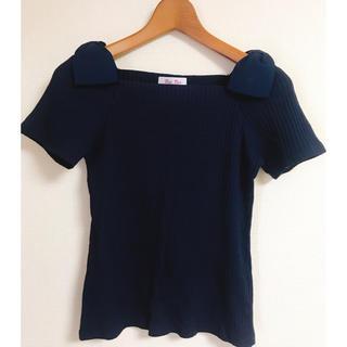 バイバイ(ByeBye)の肩リボン スクエアネック ぴちT Tシャツ(Tシャツ(半袖/袖なし))