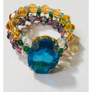 《ハンドメイド 》まるで宝石💎大きな青いラインストーンが目を引くリング(リング)