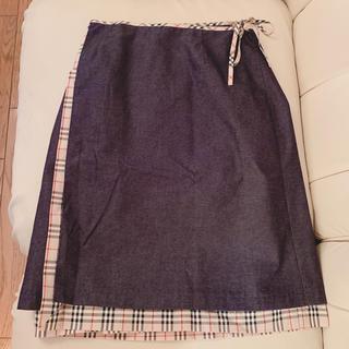 バーバリー(BURBERRY)のバーバリー ♡ リバーシブルデニム巻きスカート(ひざ丈スカート)