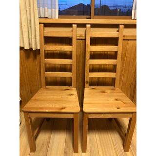 イケア(IKEA)のIKEA ダイニングテーブル/椅子2脚 EKENSBERG  オーク無垢材(家具)