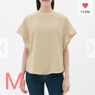 ジーユー(GU)のGU フレアスリーブブラウス 半袖 M 新品(シャツ/ブラウス(半袖/袖なし))