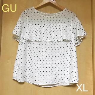 ジーユー(GU)のgu ドット フリル ブラウス XL(シャツ/ブラウス(半袖/袖なし))