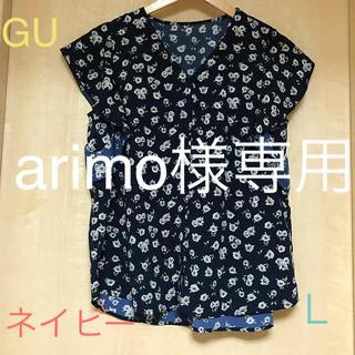 ジーユー(GU)のGU 花柄 フリルブラウス (シャツ/ブラウス(半袖/袖なし))