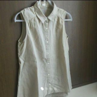 ジーユー(GU)のGU  ジーユー  リネンブレンドノースリーブシャツ(シャツ/ブラウス(半袖/袖なし))