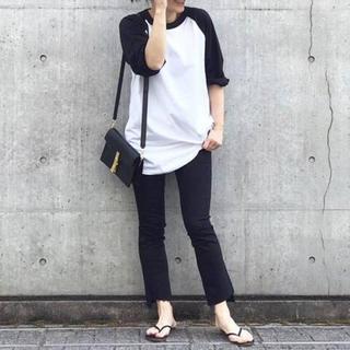 ドゥーズィエムクラス(DEUXIEME CLASSE)のドゥーズィエムクラス チャンピオン ラグランビッグTシャツ ブラック(Tシャツ/カットソー(七分/長袖))