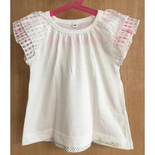 シマムラ(しまむら)のホワイトフリル袖Tシャツ(Tシャツ/カットソー)