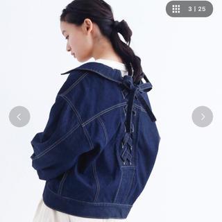 メルロー(merlot)の後ろ編み上げデニムジャケット(Gジャン/デニムジャケット)