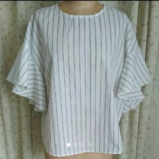 ジーユー(GU)のGU フレアスリーブ ブラウス ストライプ シャツ(シャツ/ブラウス(半袖/袖なし))