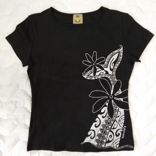 未使用: フラTシャツ 黒地にシルバー柄〔ハレクーアイレア〕_62(Tシャツ(半袖/袖なし))