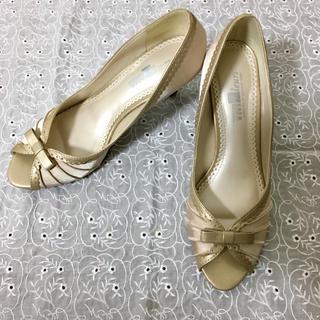 【送料無料】ゴールド リボン パンプス サンダル(ハイヒール/パンプス)