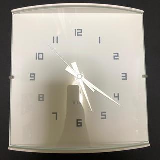 フランフラン(Francfranc)のFrancfranc 壁掛け時計 ウッドガラスクロック  スモール  ホワイト(掛時計/柱時計)